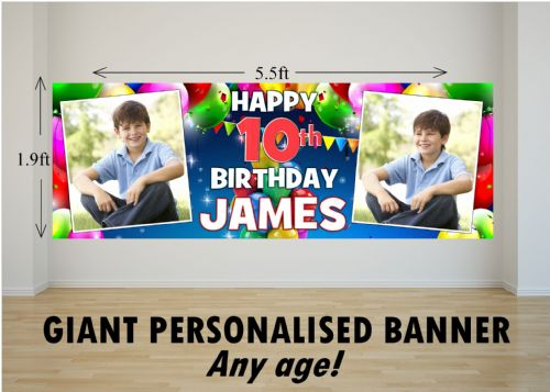 Personalised GIANT Large Balloons & Bunting Happy Birthday PHOTO Poster Banner N34 ANY AGE